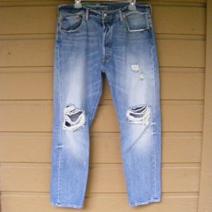 LEVI'S 501CT, 36x28, DISTRESSED, Button fly